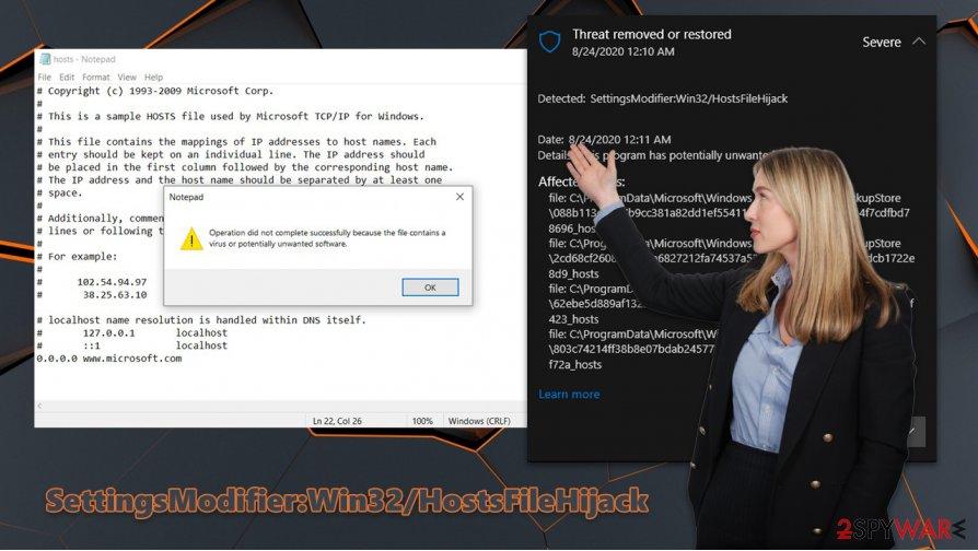 SettingsModifier:Win32/HostsFileHijack virus