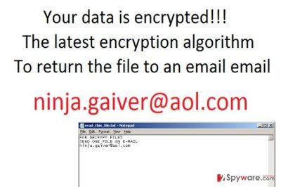 Screenshot of ransom note left by Seven_legion@aol.com virus