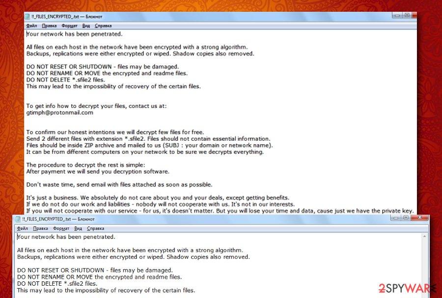 Sfile2 ransomware virus