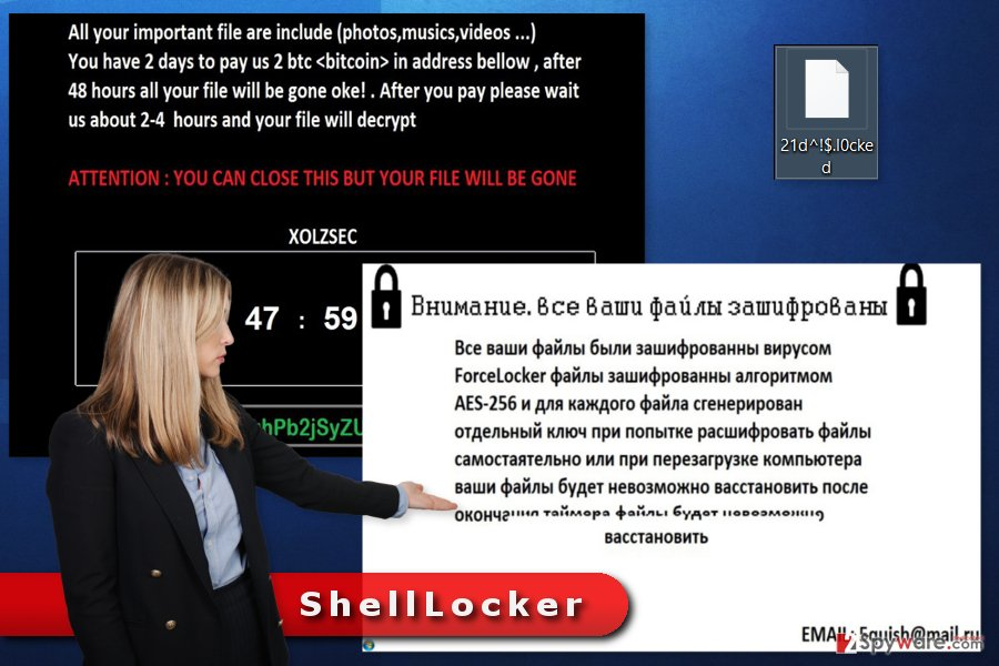 The image of ShellLocker ransomware virus