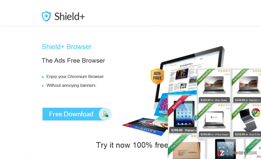 Shield+ ads and the official website of this adware