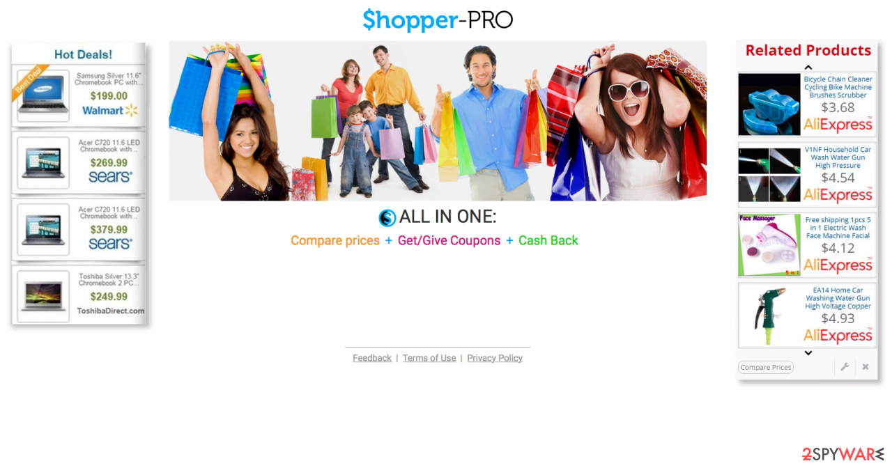 Displaying Shopper Pro ads and its official website