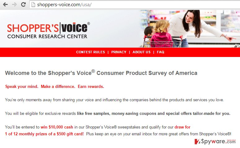 Shoppers-voice.com pop-up ads snapshot