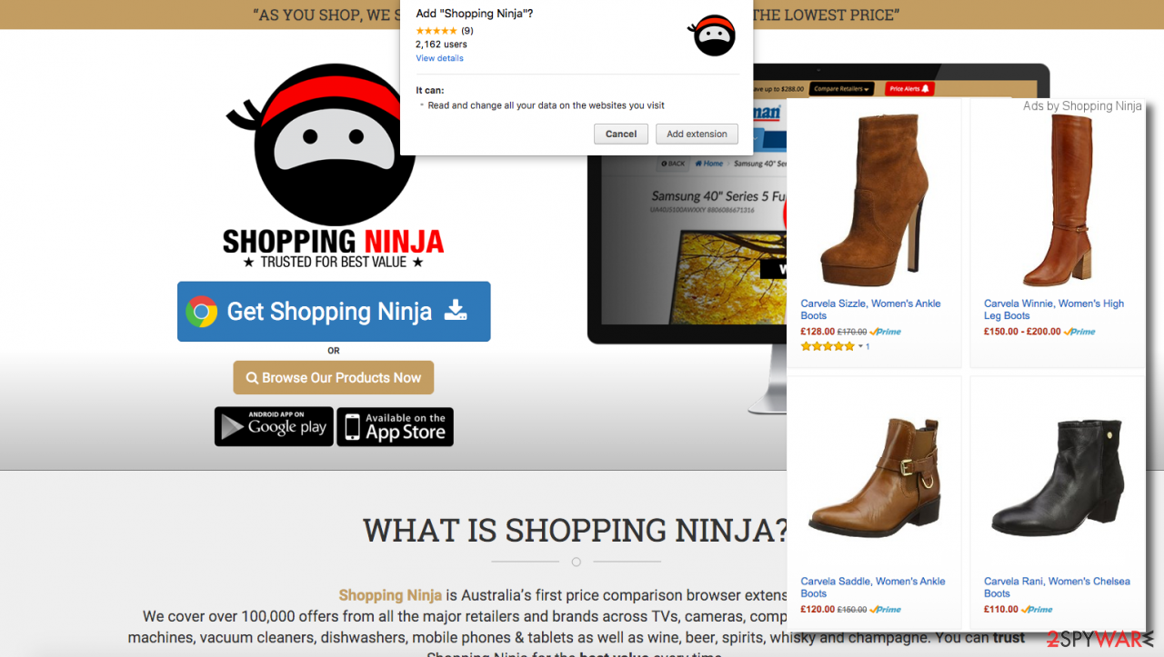 Shopping Ninja adware official web page