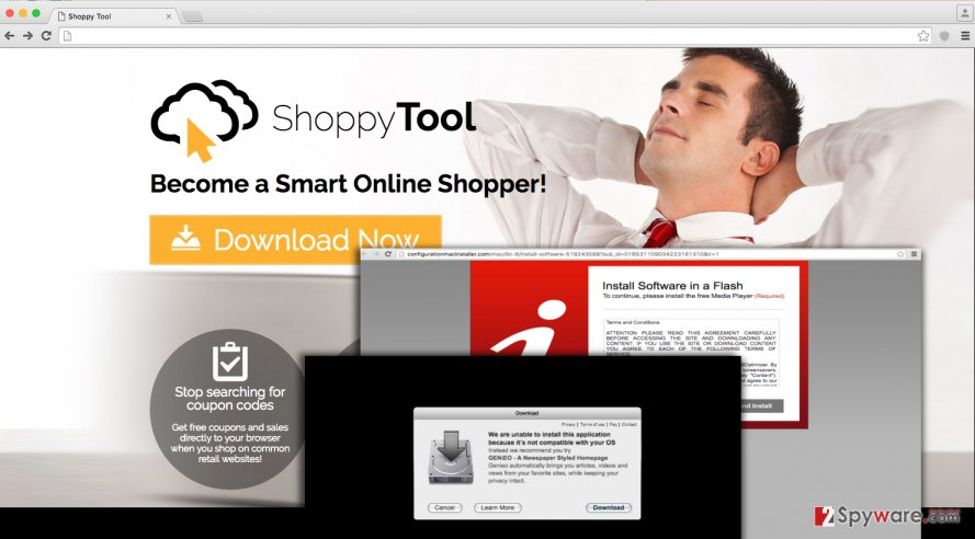 ShoppyTool virus ads on screen