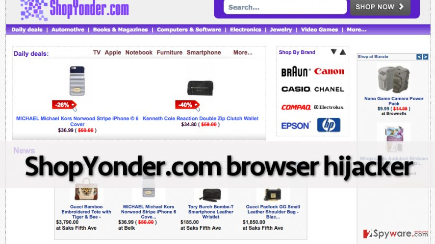 Bogus search engine by Shopyonder.com browser hijacker