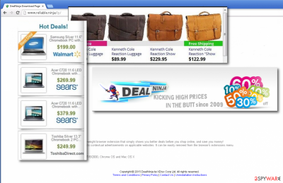 Banner and pop-up ads by DealNinja covering the site