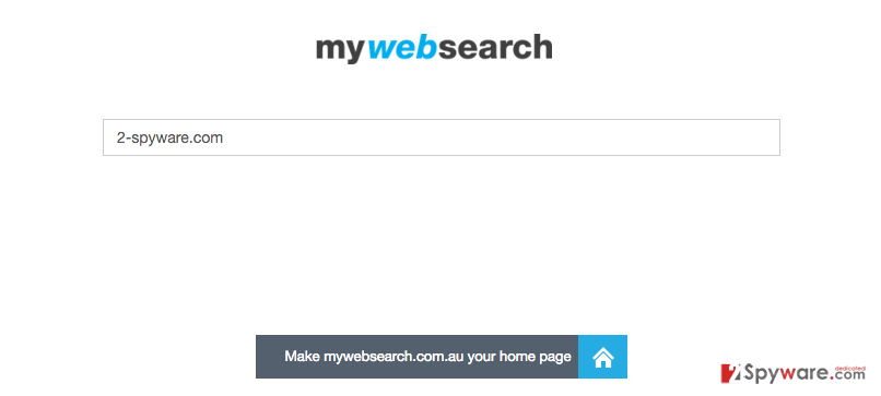 the screenshot of Mywebsearch.com.au homepage featuring search box and the title