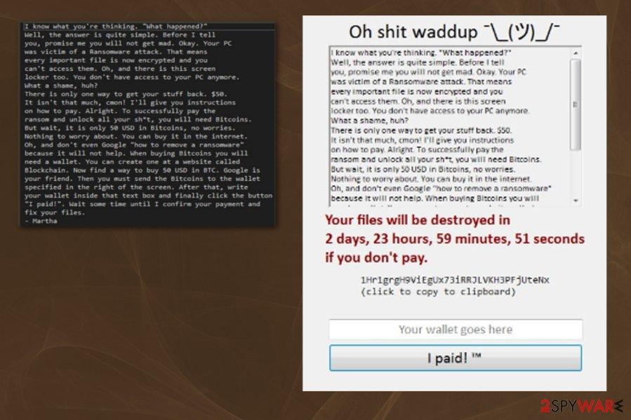 Shrug ransomware virus