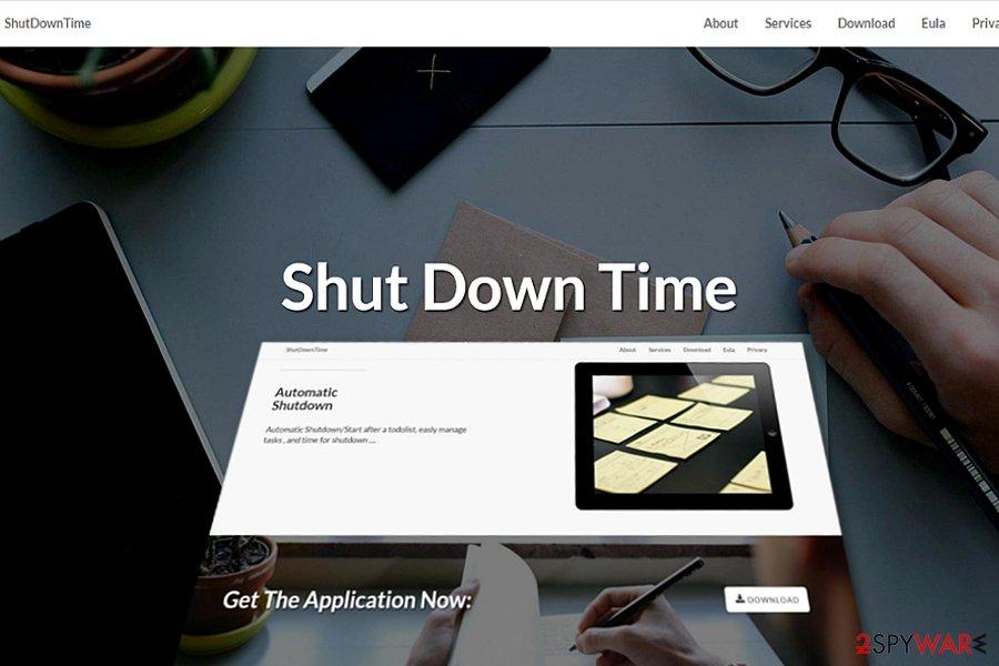 The screnshot of Shut Down Time