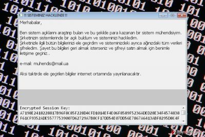 Screenshot of the ransom note by Sifreli