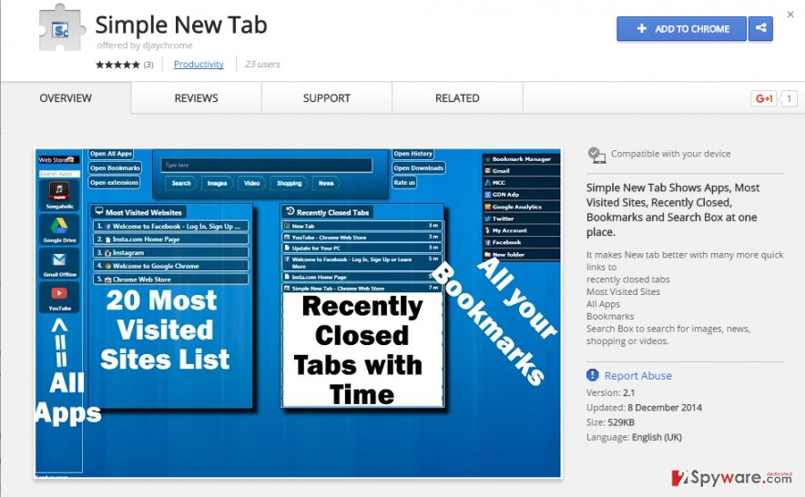 Simple New Tab virus
