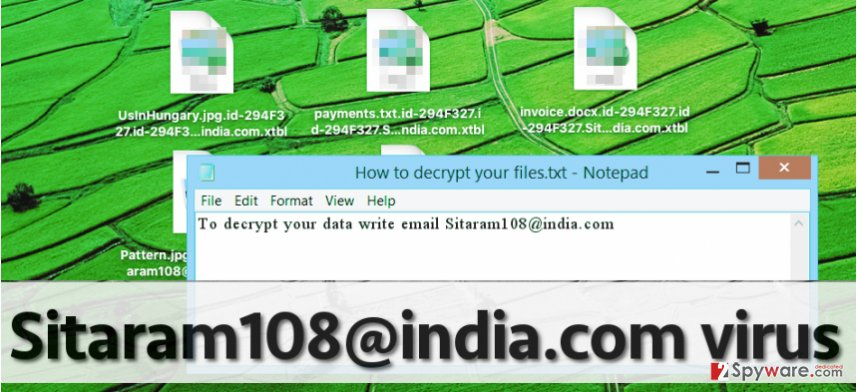 Sitaram108 ransomware and encrypted data