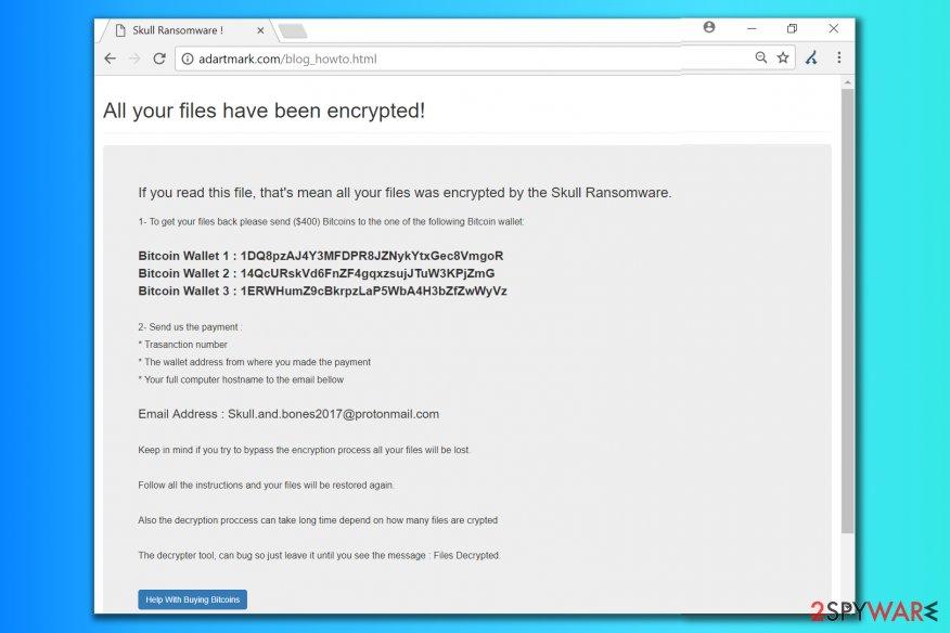 Skull ransomware note