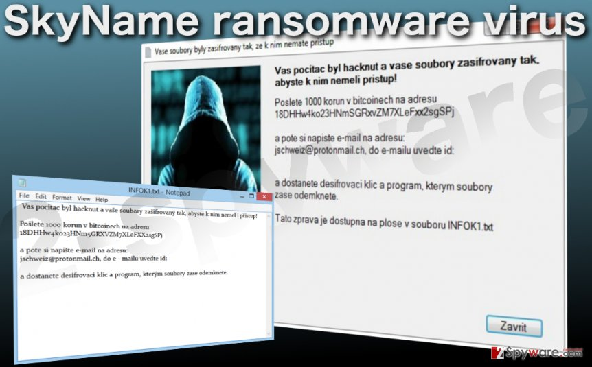 Image of the SkyName ransomware