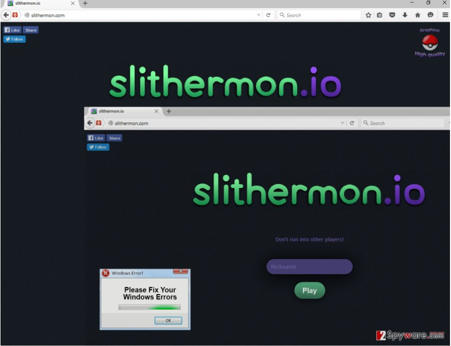 The example of Slithermon ads