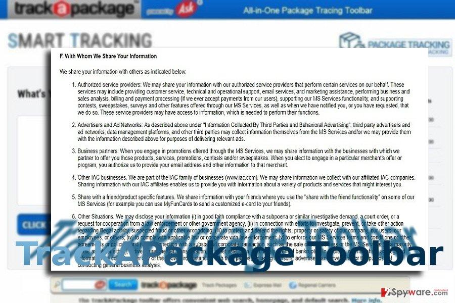TrackAPackage Toolbar example
