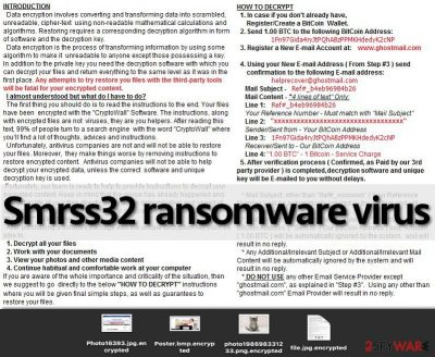 The example of Smrss32 ransomware virus