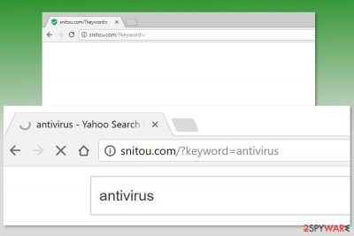 Example of Snitou.com redirects