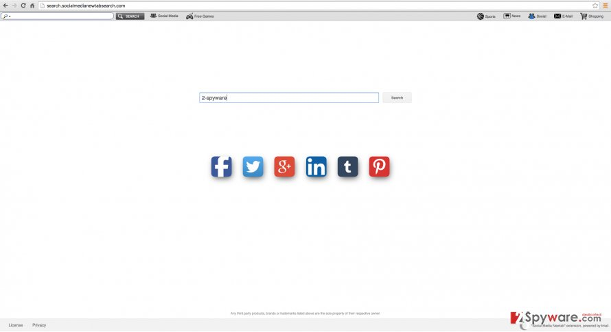 Social Media Newtab search engine example
