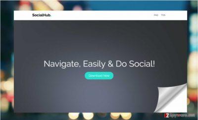 Screenshot of the official SocialHub website