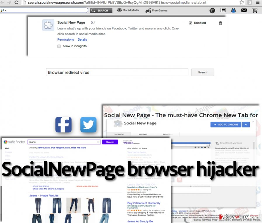SocialNewPage hijacker suggests using bogus search engine