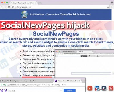 Image showing the SocialNewPages redirect virus