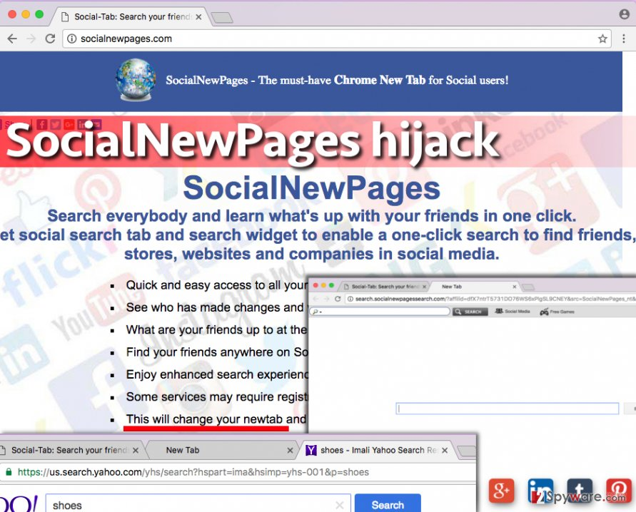 Images related to SocialNewPages virus