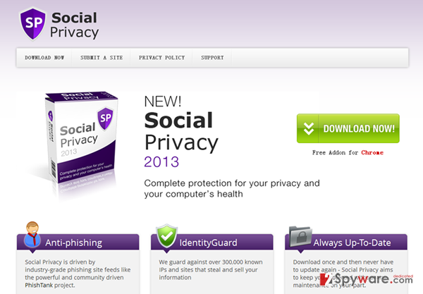 Social Privacy virus snapshot