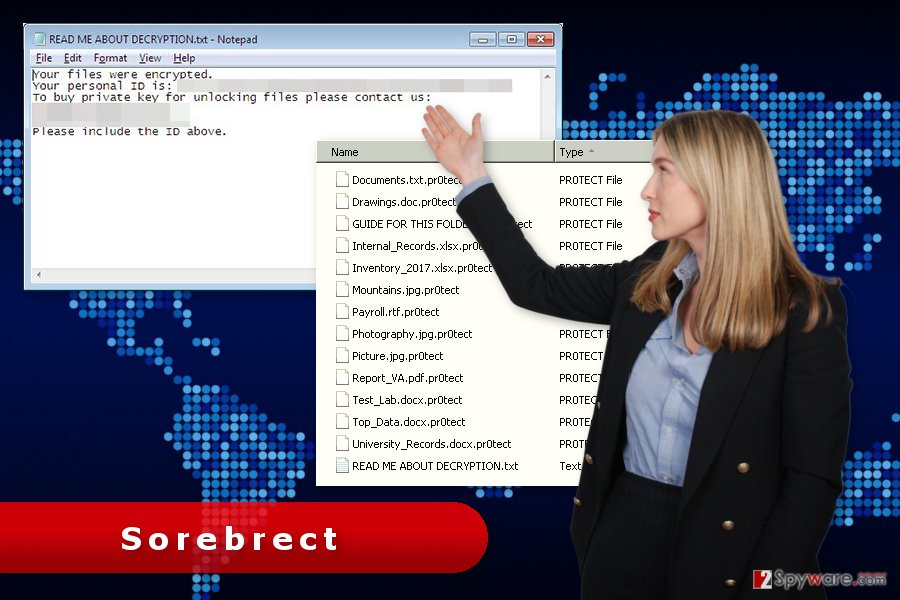 The picture of Sorebrect ransomware virus