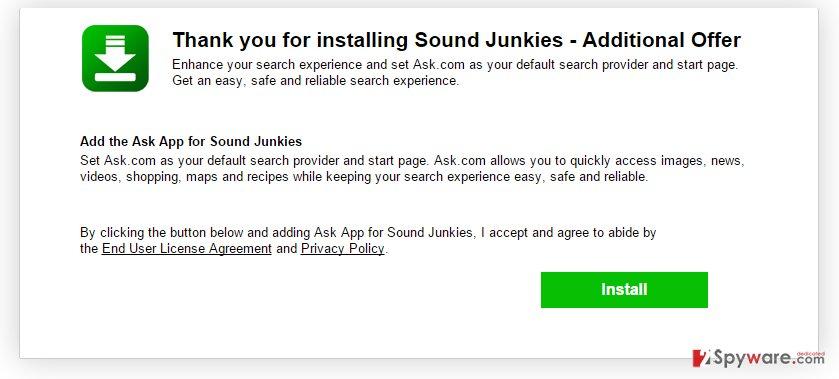 SoundJunkies New Tab virus