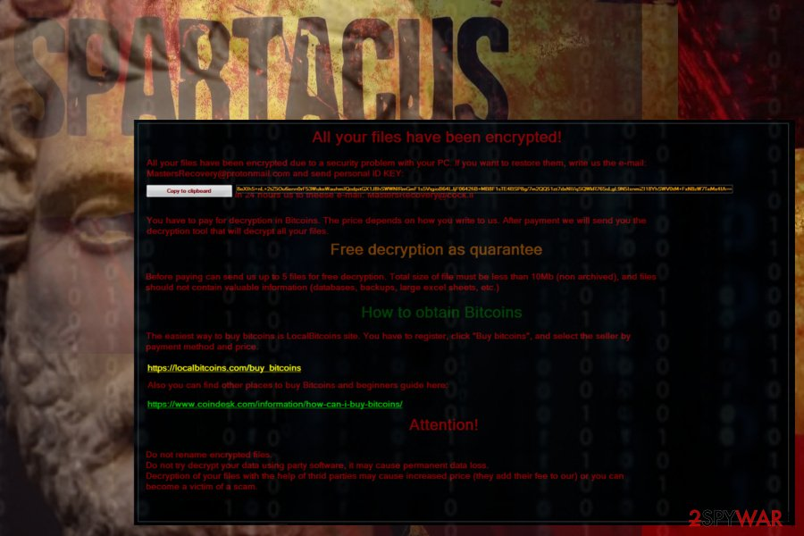 Spartacus ransomware renders files inaccessible