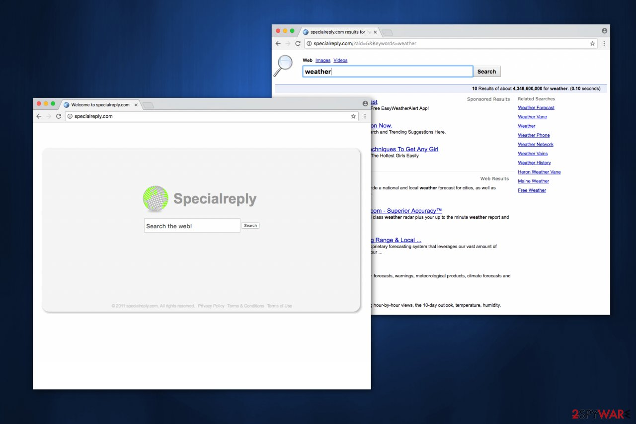 Image of SpecialReply.com browser hijacker