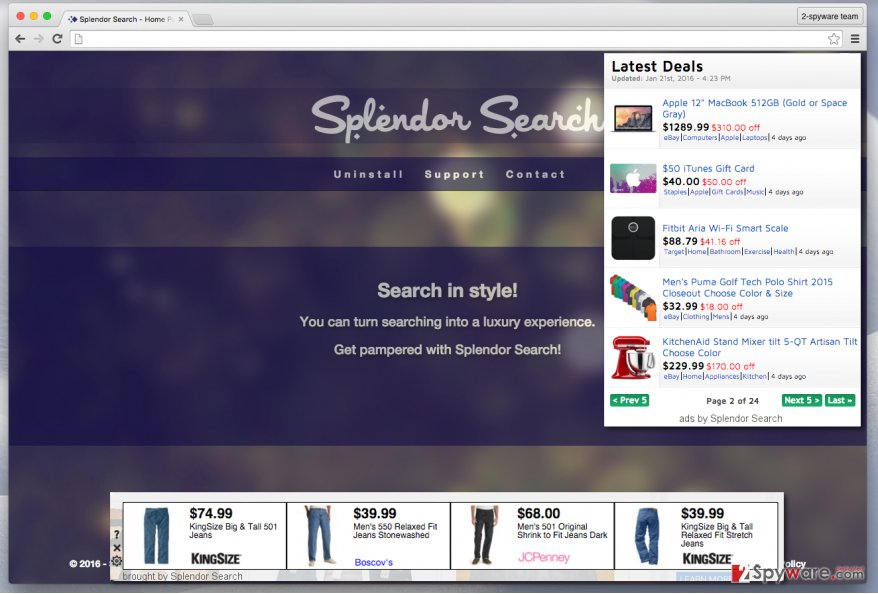 Splendor Search ads and the official website of the software