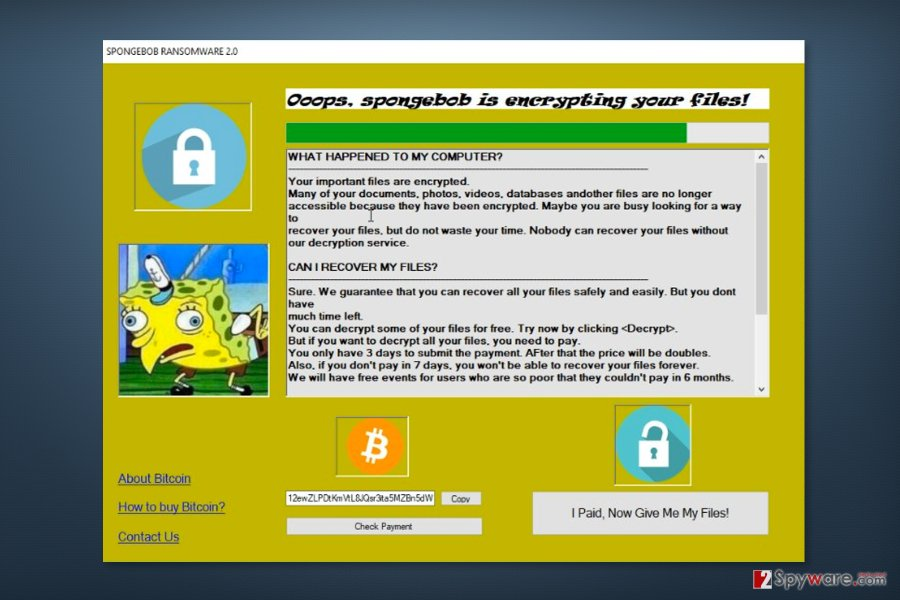 Ransom note by Spongebob ransomware virus