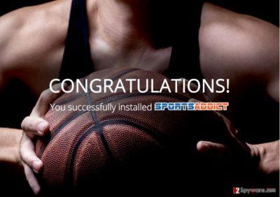 An illustration of the Sports Addict virus ads
