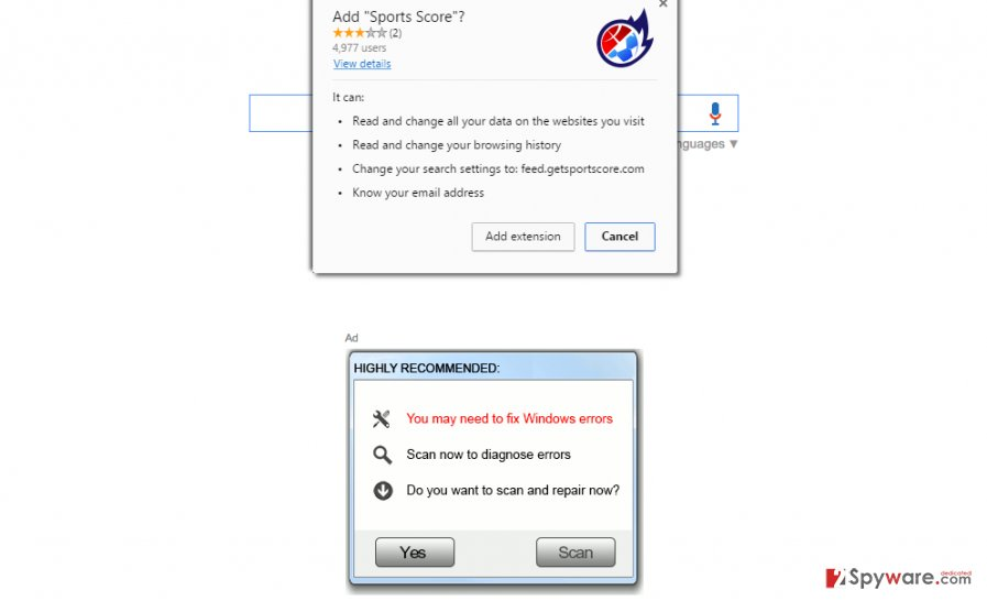 Screenshot of Sports Score browser hijacker