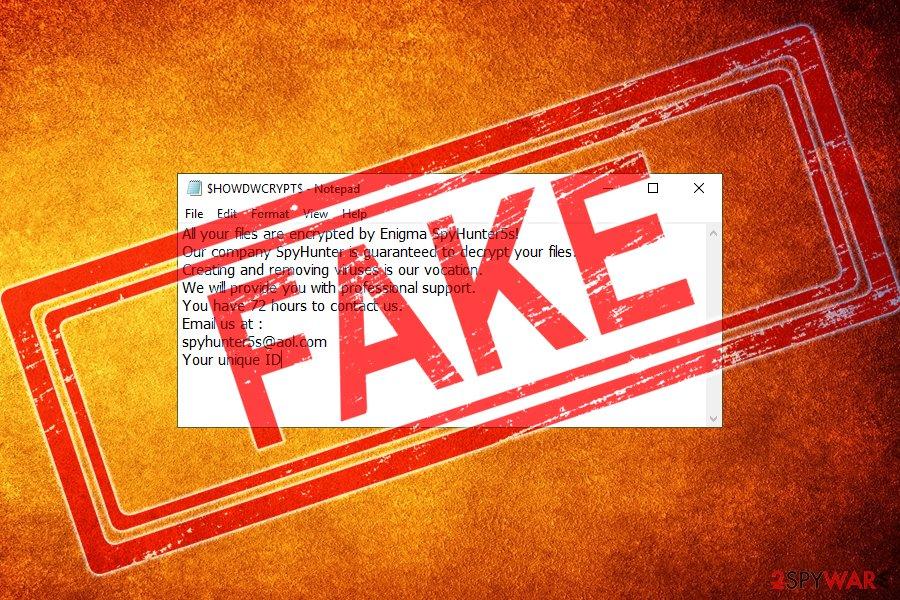 SpyHunter ransomware scam
