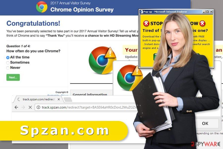Illustration of Spzan.com virus