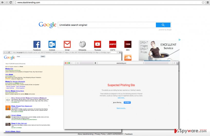 Stacktrending.com browser hijacker suggests using dangerous search engine