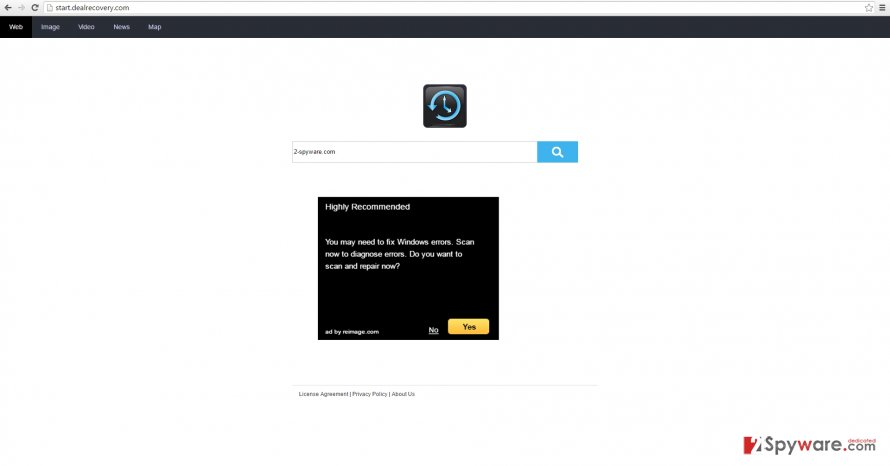 Start.dealrecovery.com works like a browser hijacker