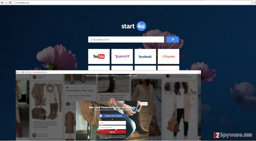 The screenshot of Start4u virus