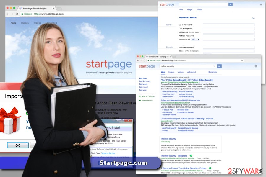 The image of the Startpage.com virus