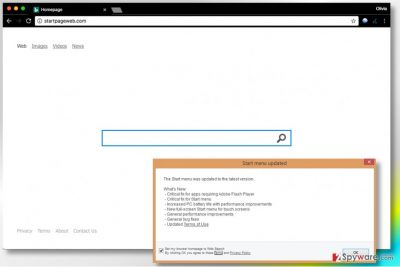 Picture showing Startpageweb.com virus search engine