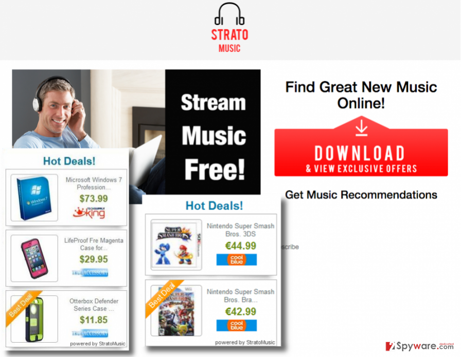 StratoMusic bogus app page and StratoMusic ads