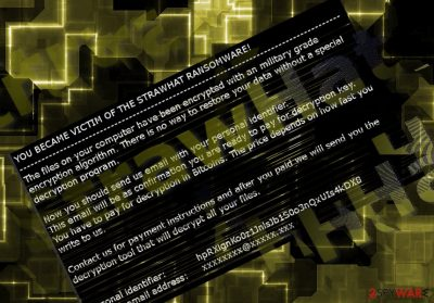The screenshot of StrawHat ransomware