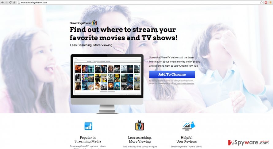 An example of StreamingWhereTV virus website