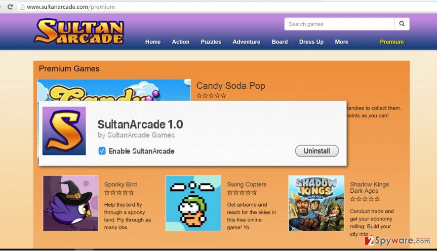 SultanArcade advertisements appear because of this program