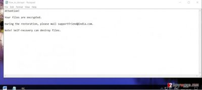 The ransom note of Supportfriend@india.com virus