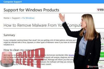 The image of Support for Windows Products scam